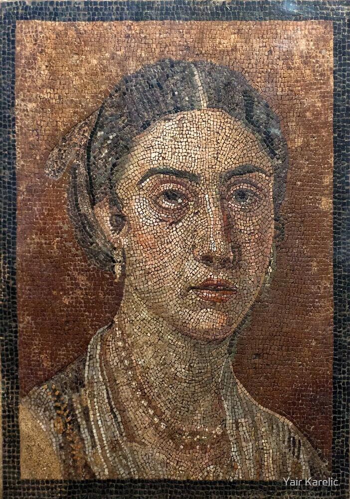 Female Portrait mosaic, Pompeii by Yair Karelic