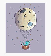 Blue Mouse with Space Asteroid Photographic Print