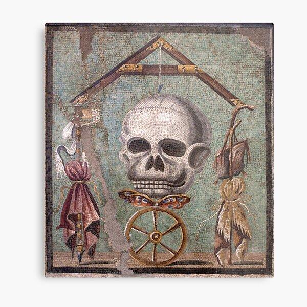 Memento Mori mosaic from Pompeii Metal Print