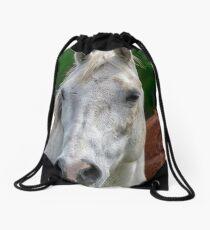 Portrait of a White Horse Drawstring Bag