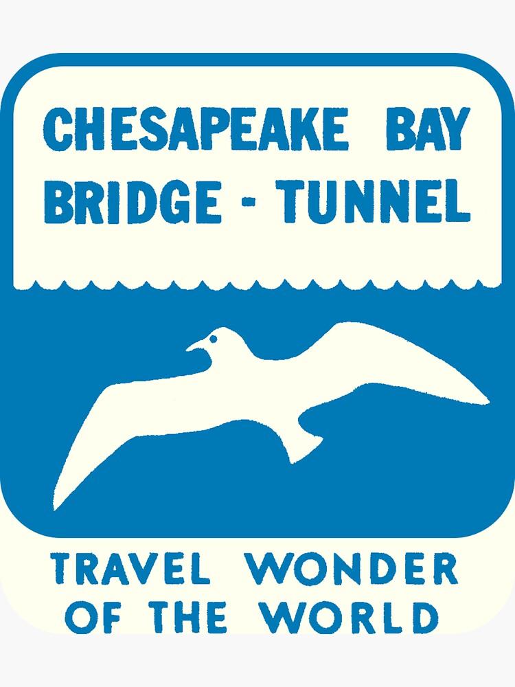 Chesapeake Bay Bridge Tunnel Vintage Travel Decal by hilda74