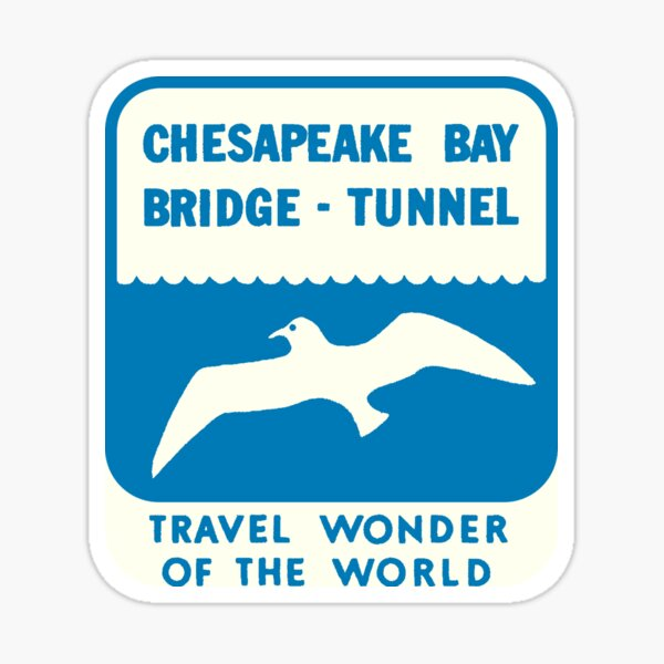 Chesapeake Bay Bridge Tunnel Vintage Travel Decal Sticker