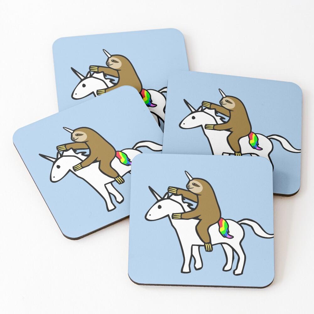 Slothicorn Riding Unicorn Coasters (Set of 4)