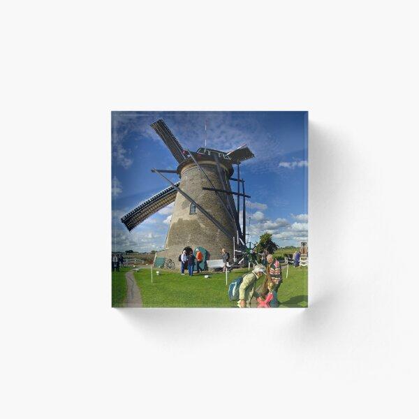 A Kinderdijk Windmill  Acrylic Block
