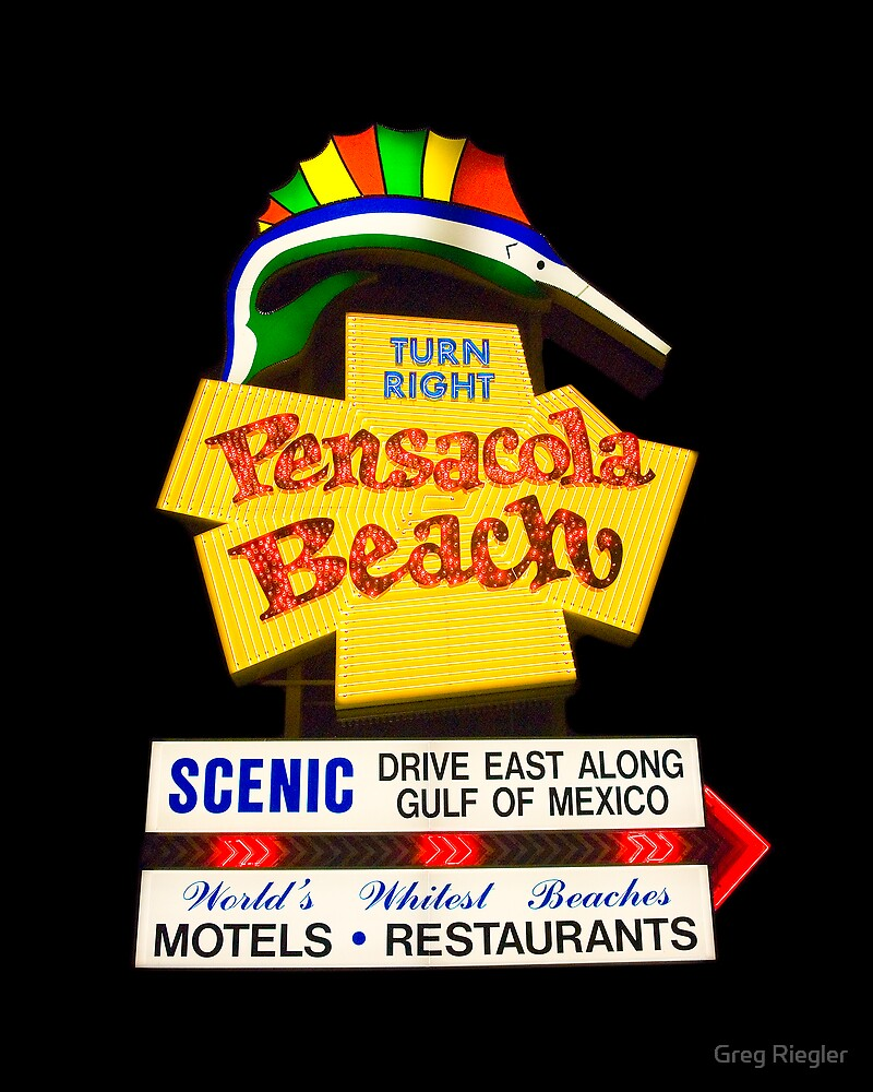 Pensacola Beach Sign by Greg Riegler