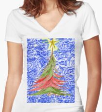 Oh Christmas Tree Women's Fitted V-Neck T-Shirt