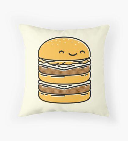 Happy Burger  Throw Pillow