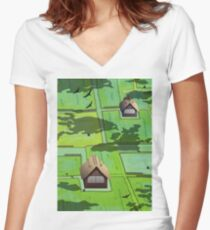 Rice paddy field Women's Fitted V-Neck T-Shirt