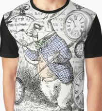 White Rabbit Alice in Wonderland Watches Time Graphic T-Shirt