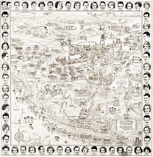Hollywood Starland Karte der Sterne Circa 1937 von Framerkat