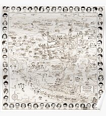 Hollywood Starland Map of the Stars Circa 1937  Poster