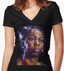 Black is the colour of my true love's hair - Nina Simone Women's Fitted V-Neck T-Shirt