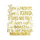 1 Corinthians 13:4 Christian Bible Verse Gold by JakeRhodes