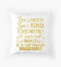 1 Corinthians 13:4 Christian Bible Verse Gold Throw Pillow