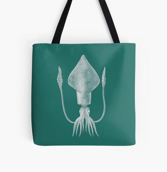 Squid (Aqua) All Over Print Tote Bag