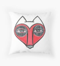 fox face heart Throw Pillow
