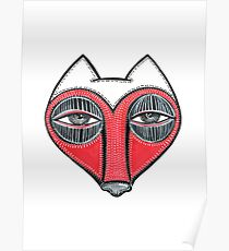 fox face heart Poster