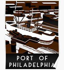 Port of Philadelphia retro vintage Poster