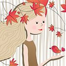 The girl standing in the maple leaves by skycn520