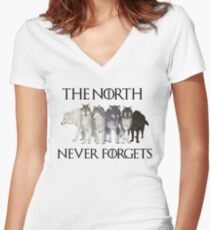 THE NORTH NEVER FORGETS Women's Fitted V-Neck T-Shirt