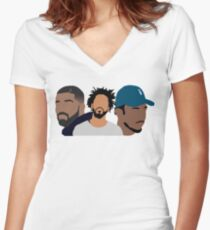 Drake, J Cole, Kendrick Lamar Women's Fitted V-Neck T-Shirt