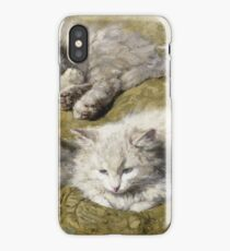 Henriette Ronner-Knip - Studies Of A Long-Haired White Cat iPhone Case/Skin