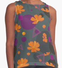 Orange cosmos flowers with geometric shapes Contrast Tank