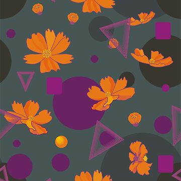 Orange cosmos flowers with geometric shapes by Nata-V