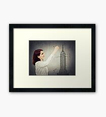 woman architect sketching Framed Print