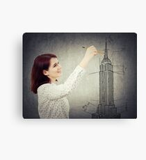 woman architect sketching Canvas Print