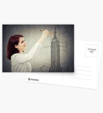 woman architect sketching Postcards