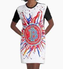 'Bitcoin Explosion' in red.  Graphic T-Shirt Dress