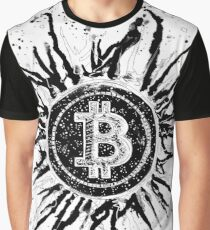 'Bitcoin Explosion'- Black and White Graphic T-Shirt