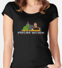 He's a friend from work Women's Fitted Scoop T-Shirt