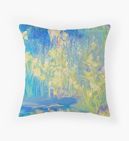 Mellow Yellow and Blue For You!!! by Sherri's Of Palm Springs Throw Pillow