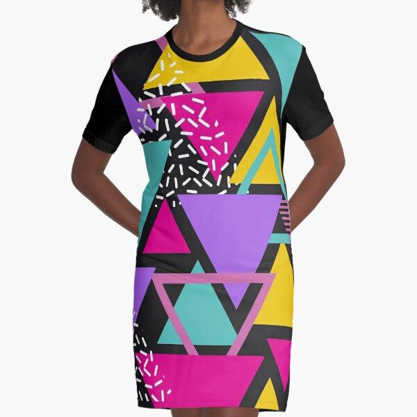 Memphis Triangles Graphic T-Shirt Dress