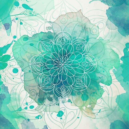 Watercolor Mandala by Orce Vasilev