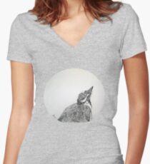 Magpie Lark Print Oriental Zen Minimalist - Sumie ink australian bird Women's Fitted V-Neck T-Shirt