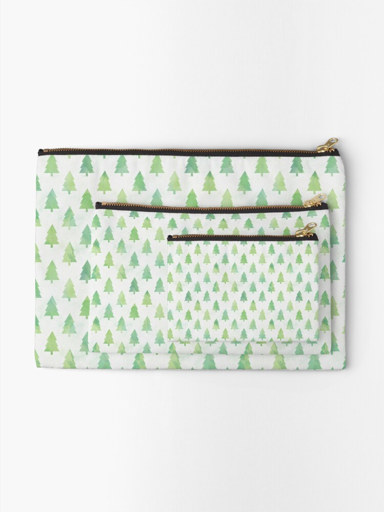 Alternate view of Simple Pine Tree Forest Pattern Zipper Pouch