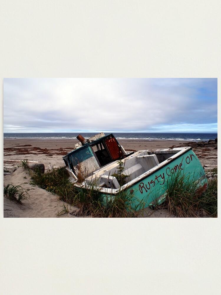 Alternate view of Rusty Come On (Fishing Boat Wreck, Yakan Point, Haida Gwaii, British Columbia, Canada) Photographic Print