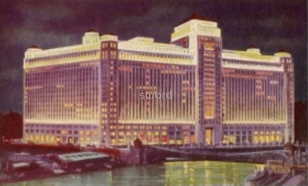The Chicago merchandise mart by night (digitally altered) by sword