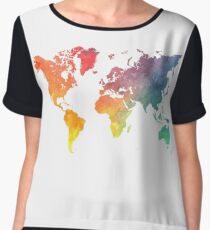 Map of the world colored Women's Chiffon Top