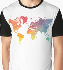 Map of the world colored Graphic T-Shirt