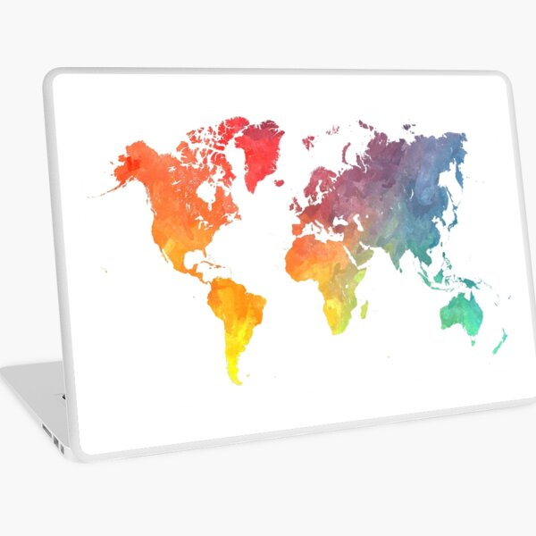 Map of the world colored Laptop Skin