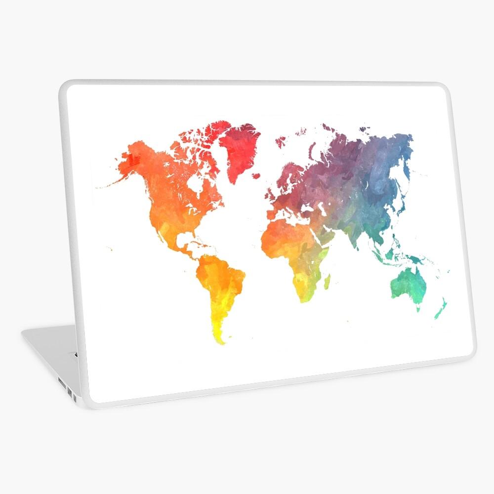 Karte der Welt gefärbt Laptop Folie