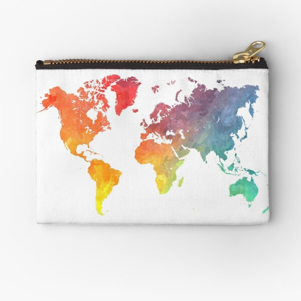 Map of the world colored Zipper Pouch