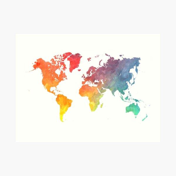 Karte der Welt gefärbt Kunstdruck
