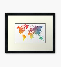 Map of the world colored Framed Print