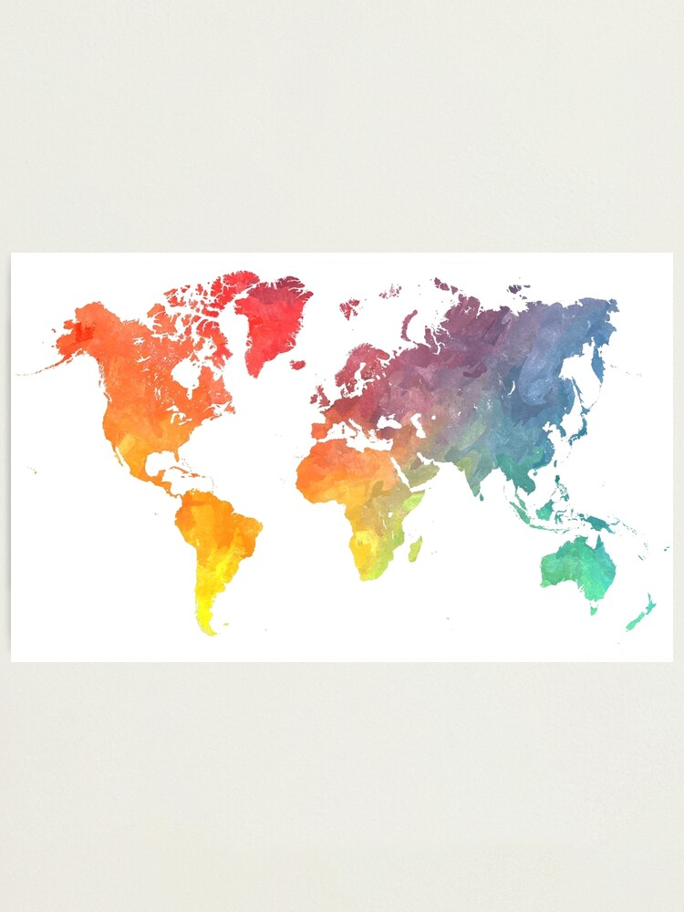Alternate view of Map of the world colored Photographic Print