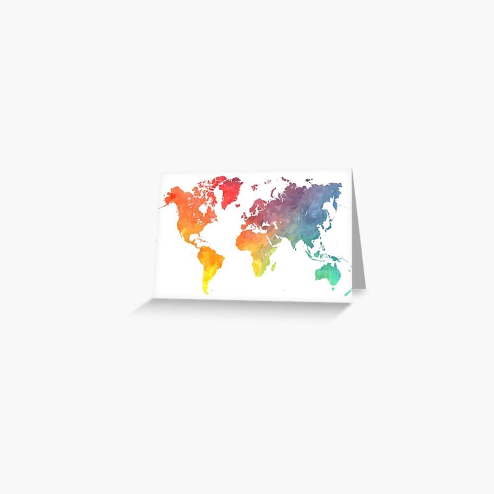 Karte der Welt gefärbt Grußkarte